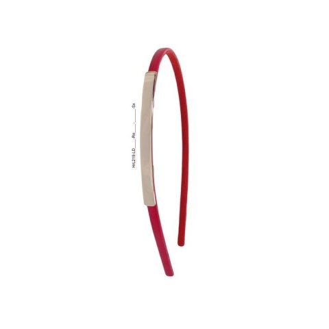 Haarreifen aus echtem Leder schmal rot mit Aufsatz