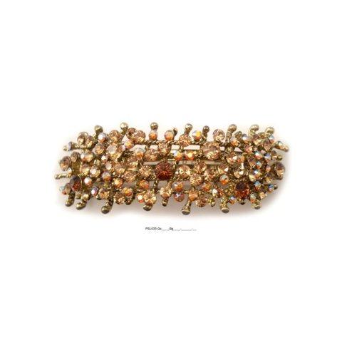 Patenthaarspange Gestell gold mit vielen Swarovskisteinen in unterschiedlicher Größe und Farbschattierungen gold braun