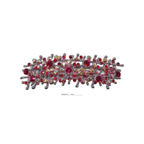 Patenthaarspange Gestell silber mit vielen Swarovskisteinen in unterschiedlicher Größe und Farbschattierungen rot