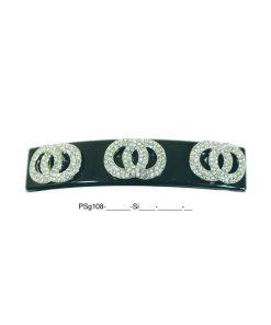 Patentspange schwarz mit aufgesetzten Ringen aus Strasssteinen silber