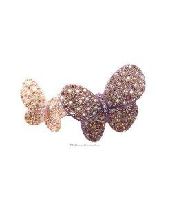 Patentspange mit zwei aufgesetzten Schmetterlingen in unterschiedlicher Größe bestückt mit Swarovskisteinen flieder violett