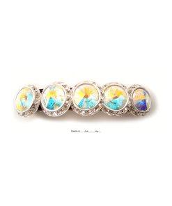 Haarspange mit fünf runden Swarovskisteinen umrahmt von Swarovskisteinen in cristall