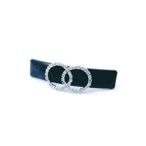 Patentspange schwarz mit zwei aufgesetzten Ringen aus Strasssteinen silber