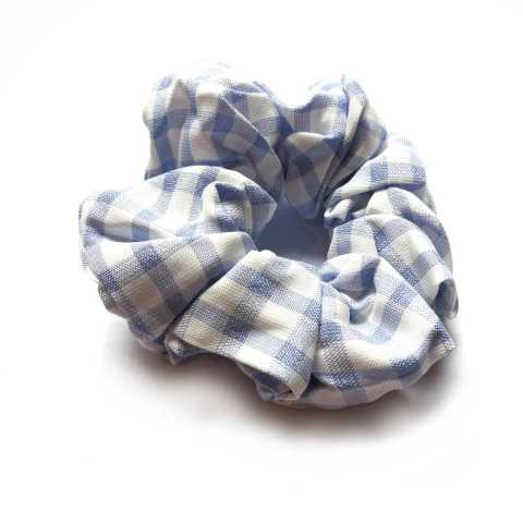 Scrunchie Karo blau