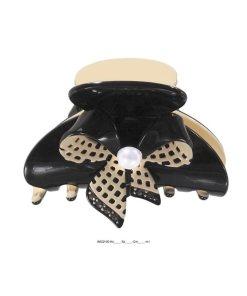Wellenreiter mit aufgesetzter Schleife in creme mit Perle in den Farben schwarz creme