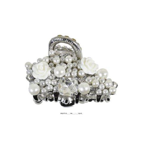 kleine Wasserwellklammer mit Perlen, Strass und kleinen weissen Rosen silber