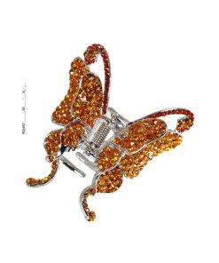 Haarklammer Schmetterling mit funkelnden Strasssteinen orange