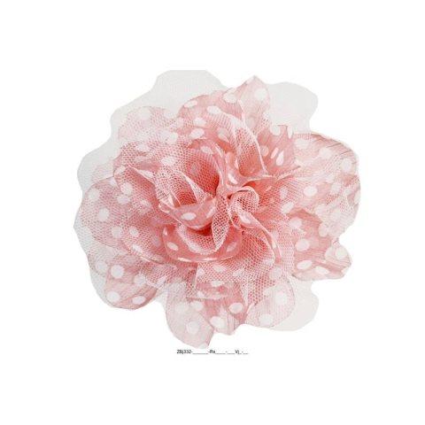 Zopfgummi mit großer Stoffblüte rosse gepunktet weiss
