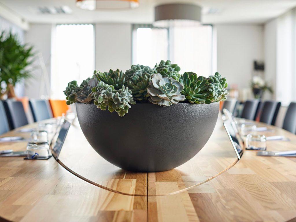 Tischgefäß grau, Haas Innengrün