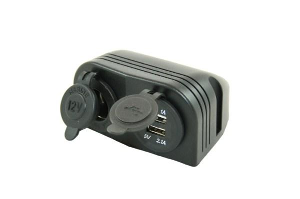 Opbouw 12V stekkerdoos + 2x USB lader