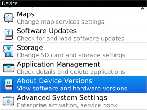How to check the model and software version on BlackBerry