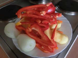 Chu ingredients: bell peppers, onions, potatoes, carrots ...
