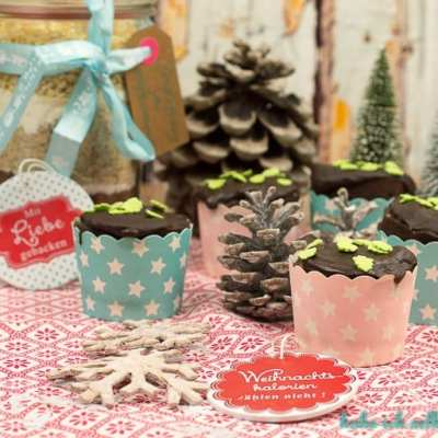 Weihnachtliche Lebkuchen Muffins als Backmischung im Glas