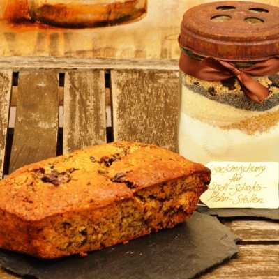 Schokoladiger Kirsch Mohn Stollen als Backmischung im Glas