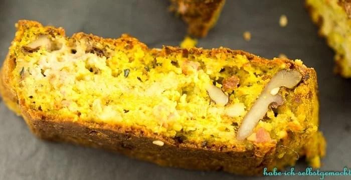 Herzhafter Walnuss Zucchini Kuchen mit Dip