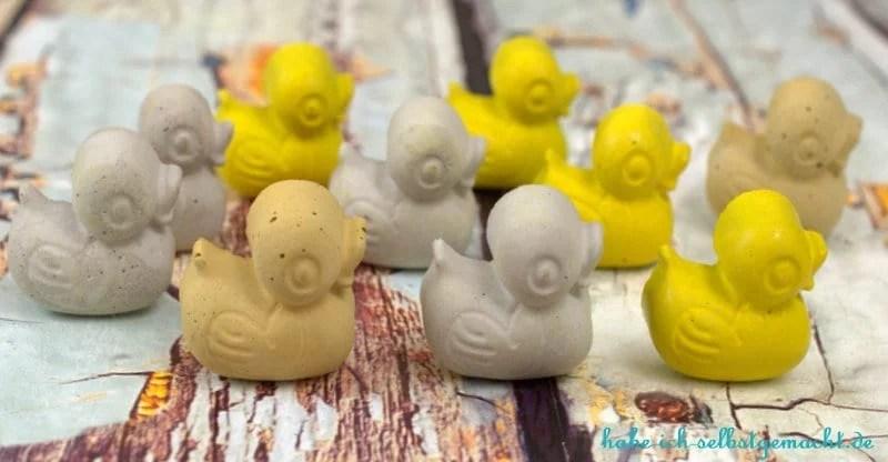 DIY Enten aus Beton als magnetische Pins - Fertige gelbe Beton Enten