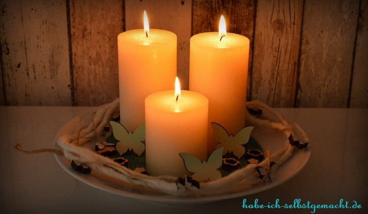 Fertige selbstgemachte Kerzenschale - Einfach gemütlich