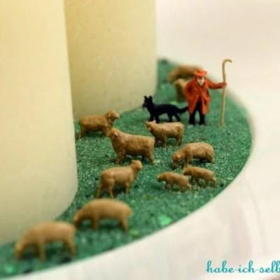 Selbstgemachte Kerzenschale - Deko mit Schafherde