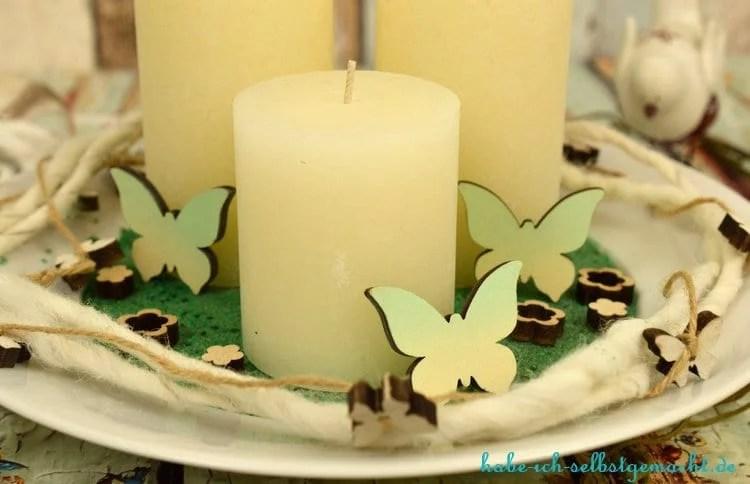 Selbstgemachte Kerzenschale - Dekoriert mit Schmetterlingen