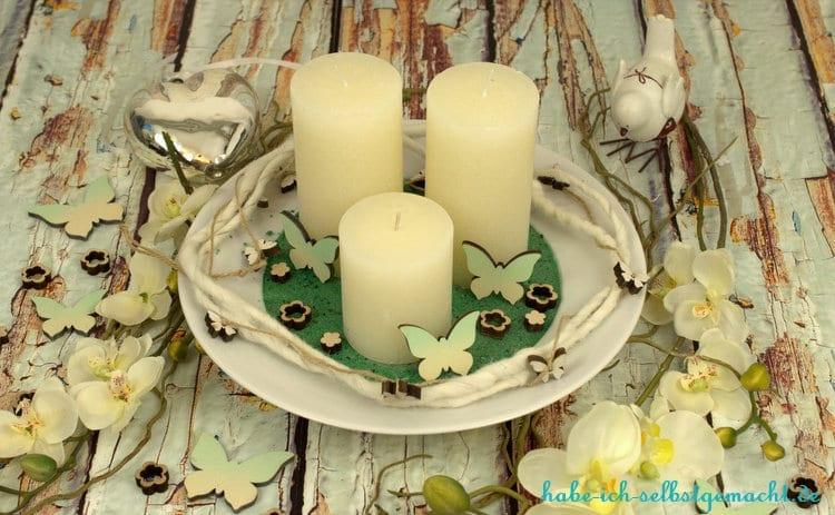 Selbstgemachte Kerzenschale - schön dekoriert