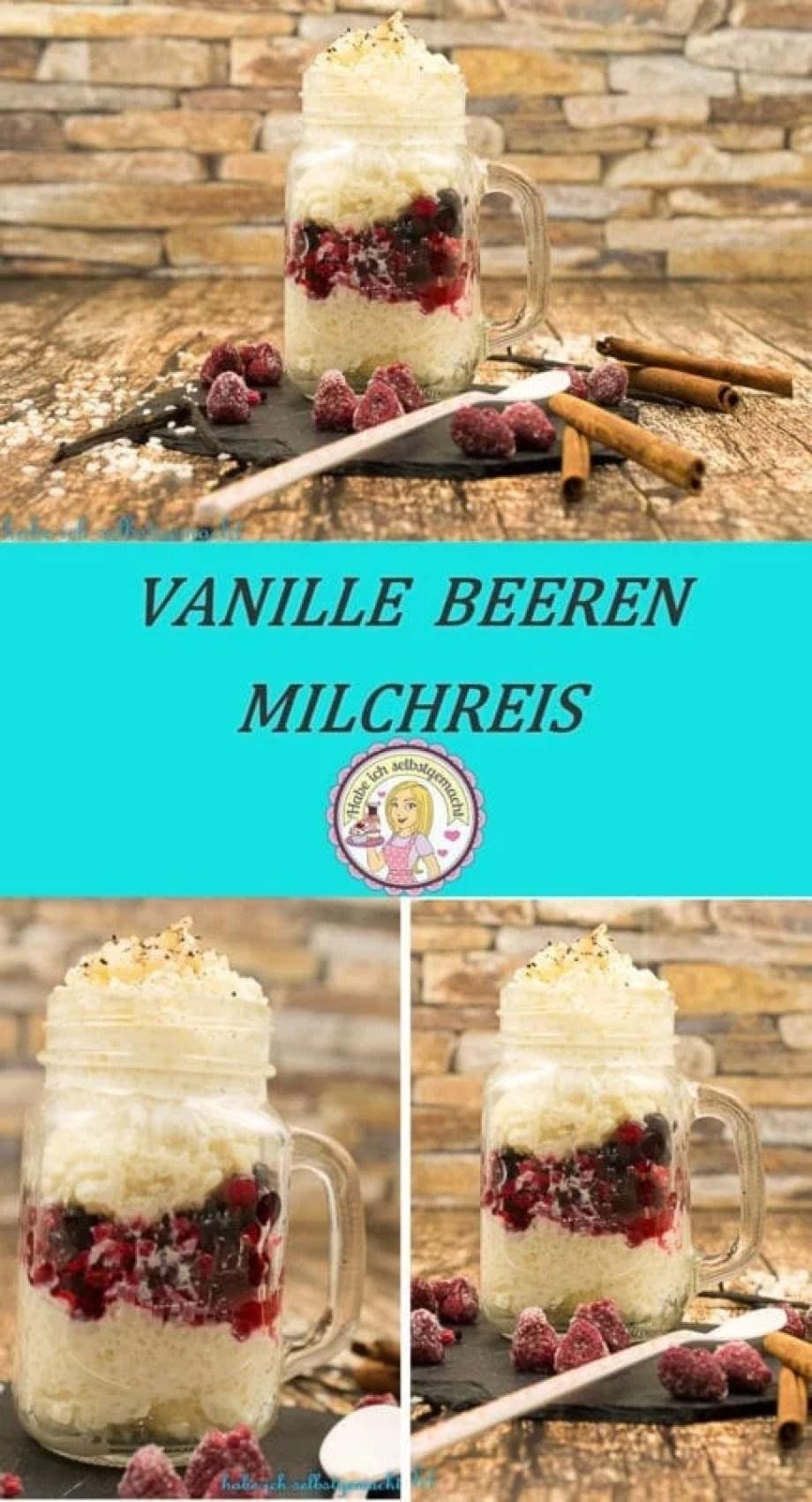 Beeren Vanille Milchreis im Glas
