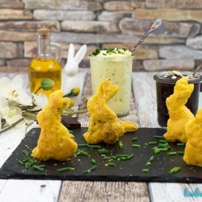 Osterbrunch- herzhafte und süße Quark Ölteig Hasen mit Dip