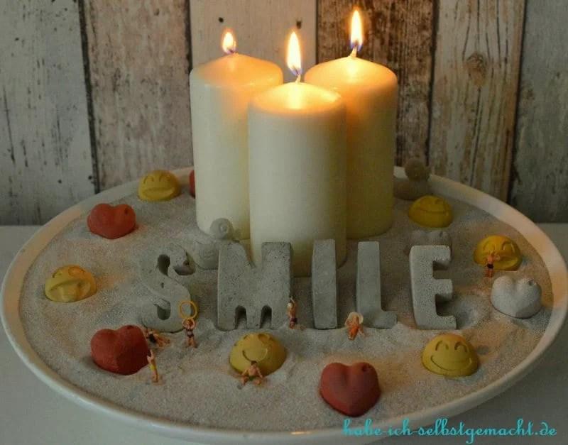Selbstgemachte Kerzenschale hyggelig fertig