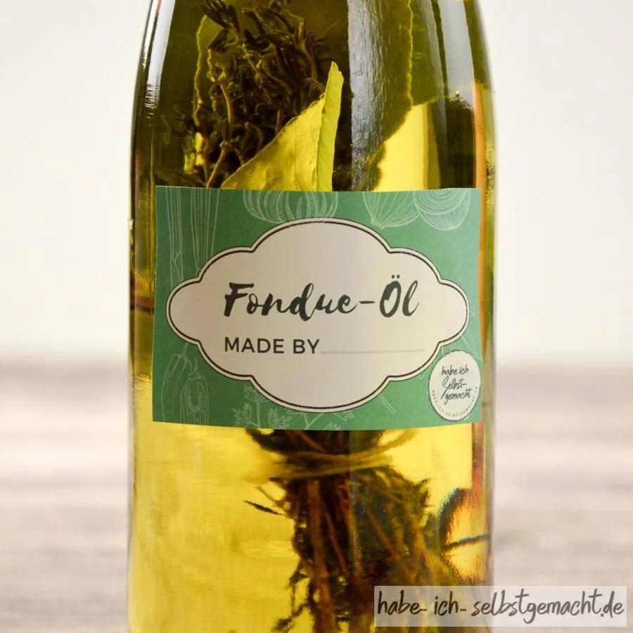 Fondue Öl mit individuellem Etikett