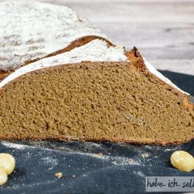 Macadamia Nuss Mehl Brot - saftig mit kleiner Porung