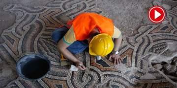 Bin 200 metrekarelik tek parça taban mozaiği görücüye hazırlanıyor