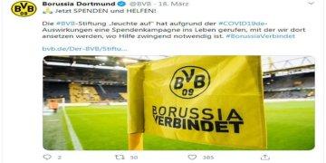 Borussia Dortmundlu taraftarlardan  koronavirüs kampanyası