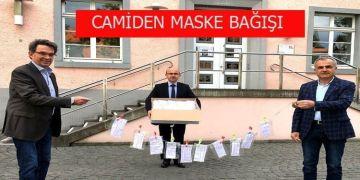 Camiden belediyeye maske bağışı
