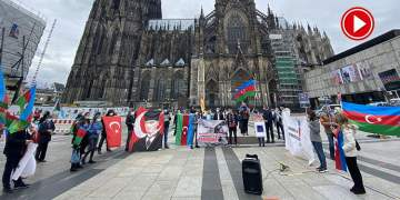 İşgalci Ermenistan Almanya'da protesto edildi (VİDEO)