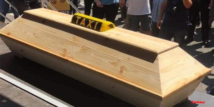 Taksicilerden tabutlu isyan