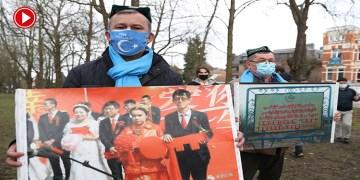 Çin'in Brüksel Büyükelçiliği önünde Uygur protestosu (VİDEO)