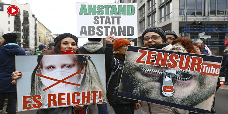 Almanya'nın birçok kentinde Kovid-19 önlemleri protesto edildi (VİDEO)