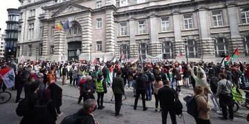 Brüksel'de İsrail'in Filistin halkına yönelik saldırıları protesto edildi