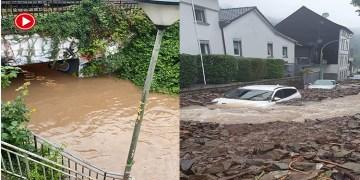 Almanya'da şiddetli yağışlar su baskınlarına neden olarak hayatı olumsuz etkiledi (VİDEO)