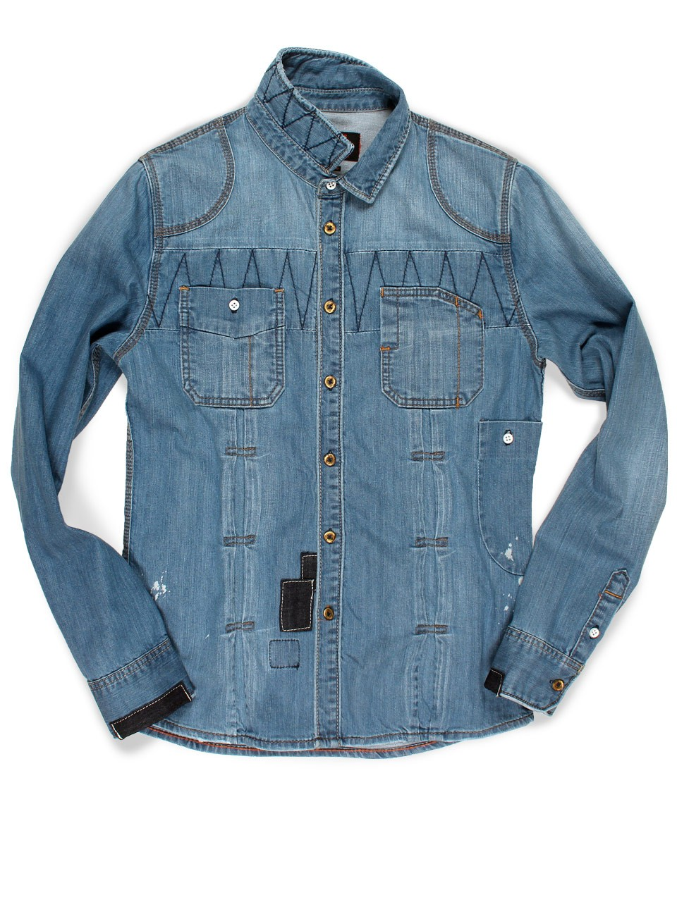 Lt Destroyed Denim Shirt