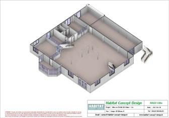 Mise en plan d'un bâtiment industriel pour agrandissement coupe 3D RDC