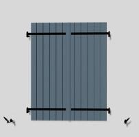 Volet Battant 2 vantaux à barre écharpe ouvert