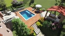 Vue plongeante sur nouvelle piscine et pool house à Fréjus