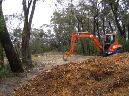 Woodchipping vegetation for Katoomba Golf Club