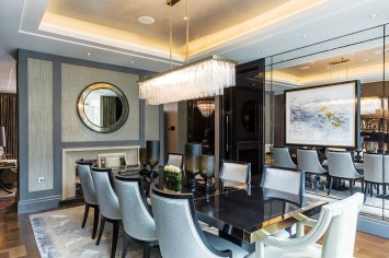 Glamour was a key requisite, with striking feature lighting throughout and a palette of smokier, darker textures than might be the London norm.