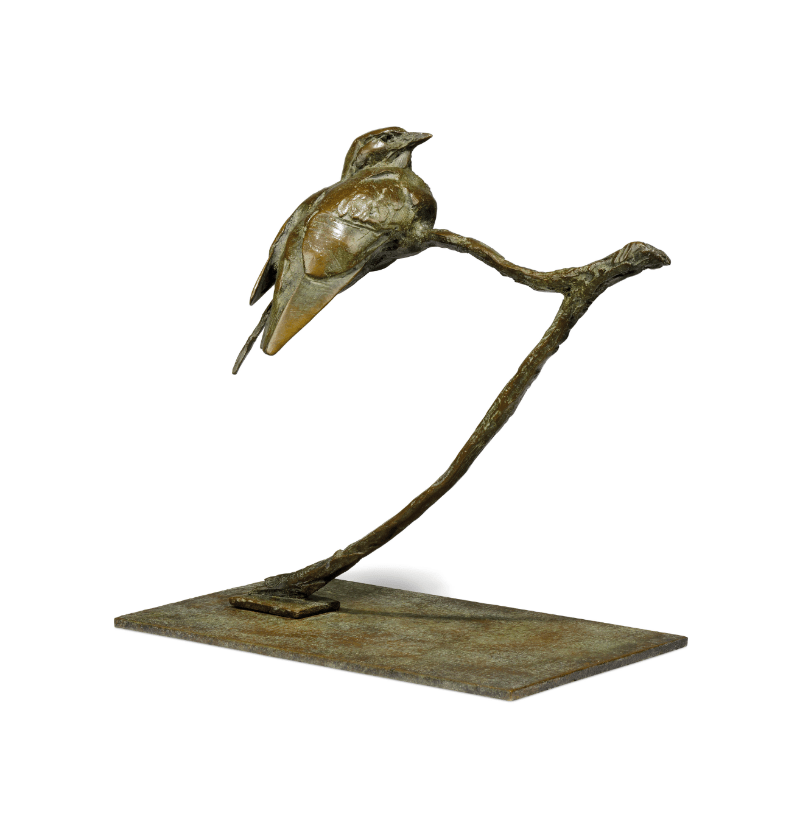 Dylan Lewis | Glossy Starling II | 2002 | Bronze sculpture | 30.5 x 32.5 x 17.7cm | Image courtesy of the artist & Christie's