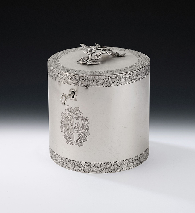 HR MARY COOKE ANTIQUES Rare George III drum tea caddy