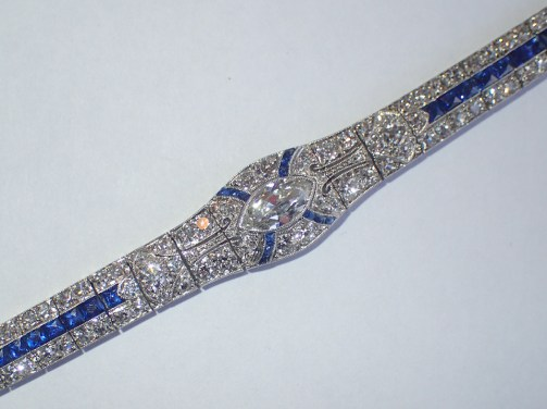 Art Deco calibrated sapphire, diamond and platinum bracelet, c.1925, £26,000 from T Robert