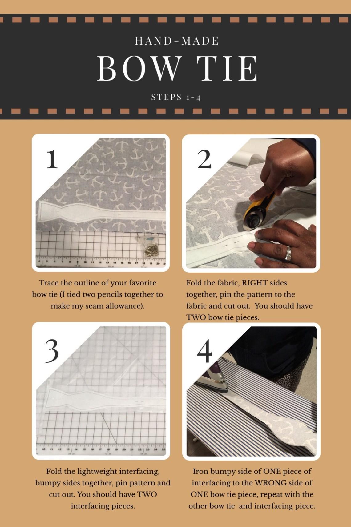 Handmade bow tie steps 1-4