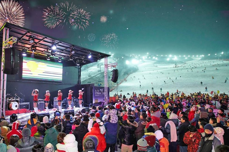 The festival scene of three-day Christmas holiday in Korea
