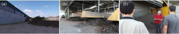Fabricación de tecnosoles o suelos artificiales: (a) tecnología primitiva al aire libre, (b) tecnología moderna bajo nave y con extracción de gases y (c) Felipe Macias nos enseña un tecnosol recien elaborado.